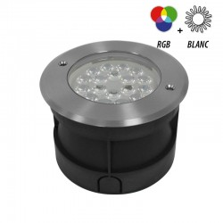 Spot 230V encastrable sol rond LED RGBW 9W - IP67