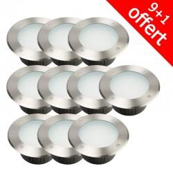 Pack de 10 spots 230V encastrables extérieurs 144 LED 6500K (9+1 offert)