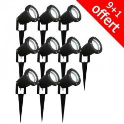 Pack de 10 spots piquets extérieurs 28 LED 3W 6500K (9+1 offert)