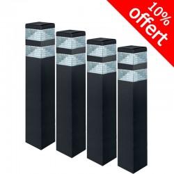 Pack de 4 bornes Pyramide Inox 32 LED SMD 9W Finition Noire 60 cm