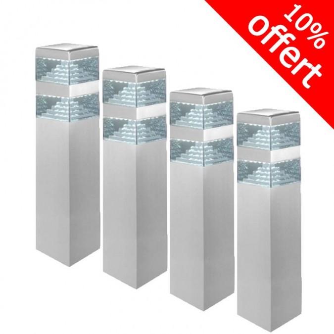 Pack de 5 bornes Pyramide Inox 32 LED SMD 9W Finition Inox 40 cm