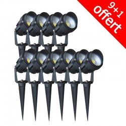 Pack de 10 spots piquets extérieurs LED COB 6W (9+1 offert)