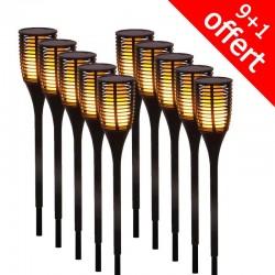 Pack de 10 torches LED imitation flamme Solaire FLAMY SUN (9+1 offerte)