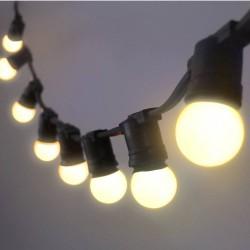 Guirlande LED Guinguette Professionnelle 10 Mètres Blanc Chaud - 10 douilles + Ampoules