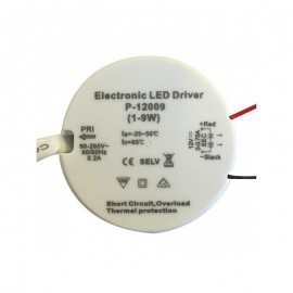 Transformateur LED 9W 12 Volts DC IP20 Rond