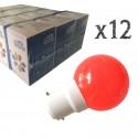 Lot de 12 ampoules LED B22 1W Rouges Incassables (équivalence 15W) pour Guirlande Extérieure