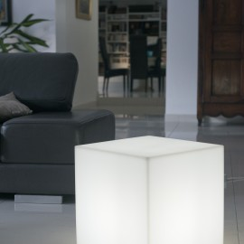 Cube lumineux blanc CARRY W H.40cm
