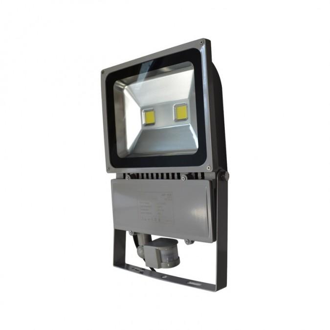 Projecteur LED COB 100W Extérieur IP65 Gris + Détecteur