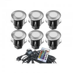 Kit de 6 Mini Spots Encastrables 12V LED RGB