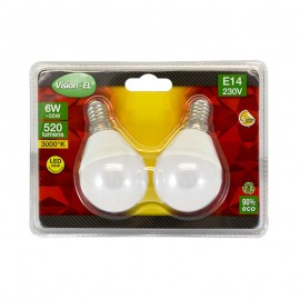Lot de 2 Ampoules LED E14 6W P45