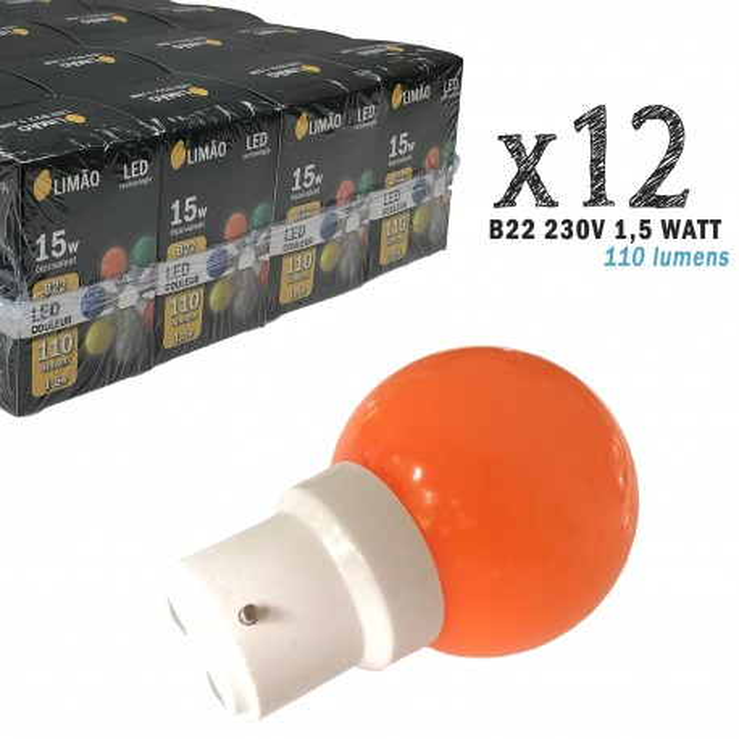 Lot de 12 ampoules LED B22 1W Oranges Incassables (équivalence 15W) pour Guirlande Extérieure