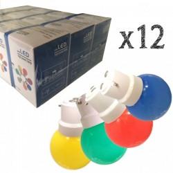 Lot de 12 ampoules LED B22 1.5W Rouges, Bleues, Vertes et Jaunes Incassables (équivalence 15W) pour Guirlande Extérieure