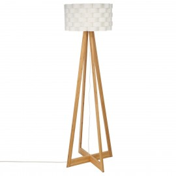 Lampadaire blanc MOKI en Bambou H150