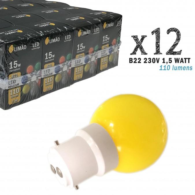 Lot de 12 ampoules LED B22 1W Blanc Chaud Incassables (équivalence 15W) pour Guirlande Extérieure