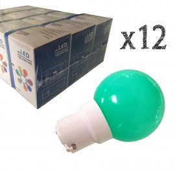 Lot de 12 ampoules LED B22 1W Vertes Incassables (équivalence 10W) pour Guirlande Extérieure