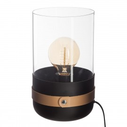 Lampe en verre & cuir H26