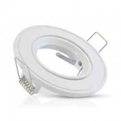 Support de spot Rond Orientable Acier Blanc Ø86mm à lamelle