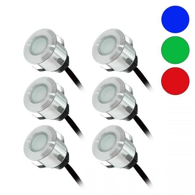 Kit Complet 6 Mini Spots Encastrables 12V LED Bleu, Vert, Rouge