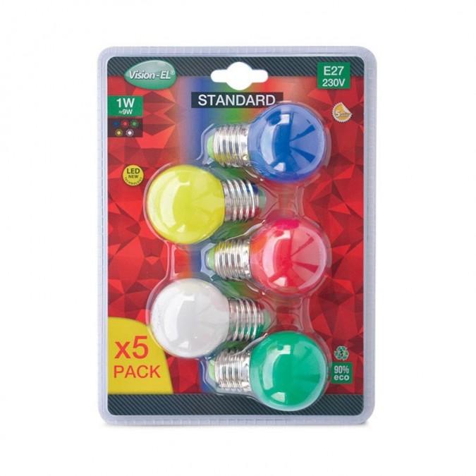 Pack de 5x Ampoules LED E272 1W Couleurs