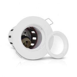Support de spot BBC RT2012 Rond Blanc Fixe Ø90mm + douille GU10