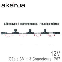 Câble Chaînage 3 mètres + 3 Sorties IP67 12V