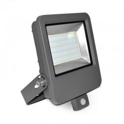 Projecteur LED COB 80W Extérieur IP65 Plat Gris + Détecteur