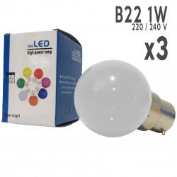 Lot de 3 ampoules LED B22 1W Blanc Chaud Incassables (équivalence 15W) pour Guirlande Extérieure