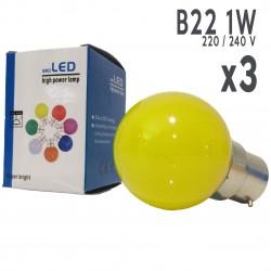 Lot de 3 ampoules LED B22 1W Jaunes Incassables (équivalence 15W) pour Guirlande Extérieure