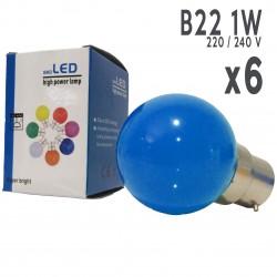 Lot de 6 ampoules LED B22 1W Bleues Incassables (équivalence 15W) pour Guirlande Extérieure