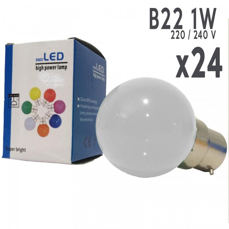 Lot De 24 Ampoules Led B22 1w Blan Boutique Officielle Lbimp
